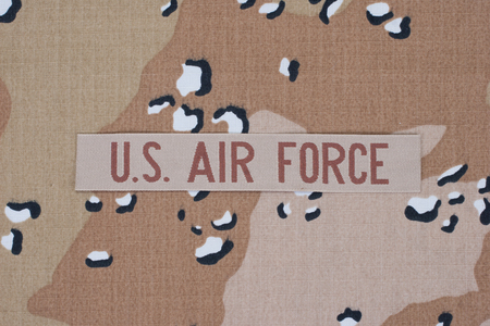 us air force: US AIR FORCE concept on camouflage uniform Stock Photo