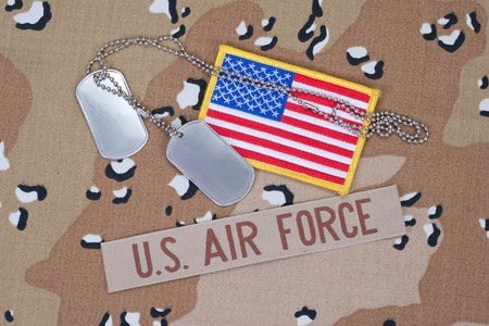 us air force: US AIR FORCE concept with dog tags on camouflage uniform