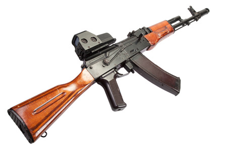 airborn: AK assault rifle with optical sight on white Stock Photo