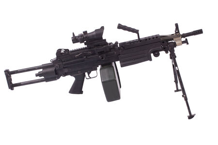 M249 machine gun isolated on white photo