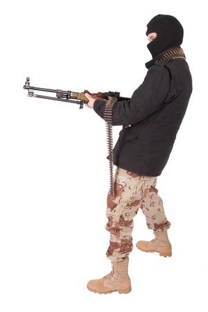 machine gun: mercenary with machine gun Stock Photo
