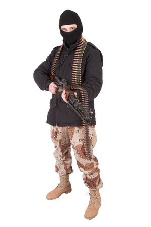 mercenary with machine gun Stock Photo