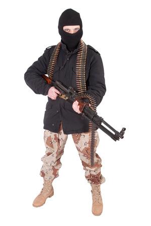 machine gun: mercenary - soldier of fortune with machine gun