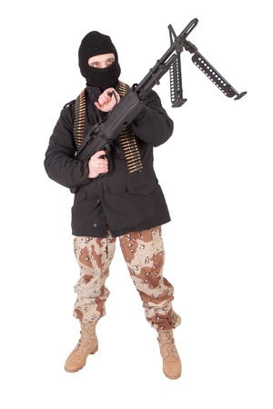 mercenary with m60 machine gun Stock Photo