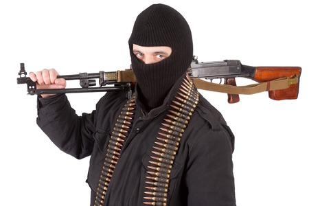 machine gun: mercenary with rpd-44 machine gun Stock Photo