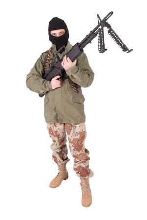 gunner: mercenary with m60 machine gun Stock Photo