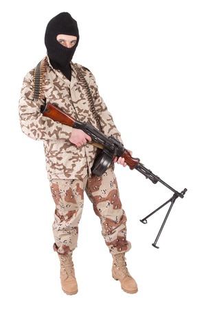 gunner: mercenary with machine gun Stock Photo