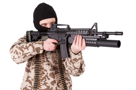 gunner: mercenary with m4 carbine Stock Photo