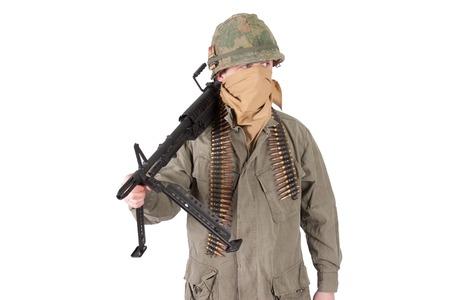 gunner: us army soldier with m60 machine gun, vietnam war period