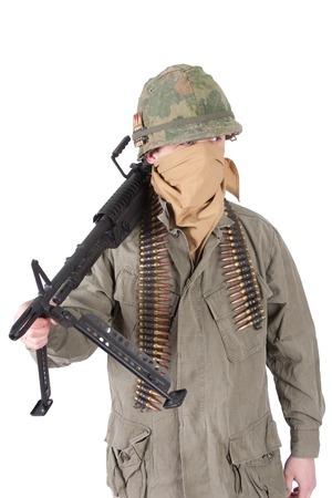 machine gun: us army soldier with m60 machine gun, vietnam war period