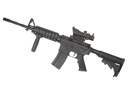 US Army carbine with silencer isolated on a white background photo