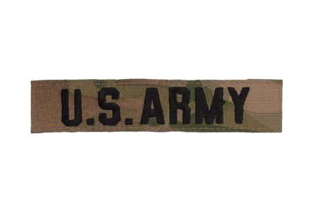 us army camouflaged uniform name badge Archivio Fotografico