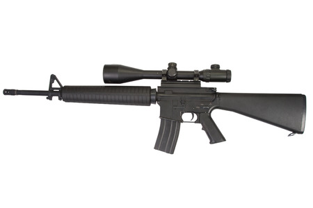m16 rifle with telescopic sight isolated on a white background 免版税图像