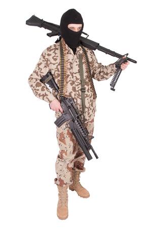 terrorist with machine gun Stock Photo
