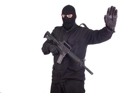 mercenary with CAR15 rifle photo
