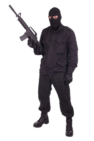 mercenary: mercenary with xm177 rifle Stock Photo