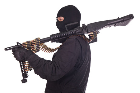 mercenary: mercenary with M60 machine gun Stock Photo