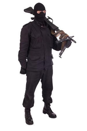 mercenary: mercenary with M60 machine gun Stock Photo