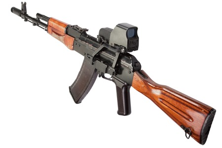 akm: Kalashnikov AK assault rifle with optical sight on white
