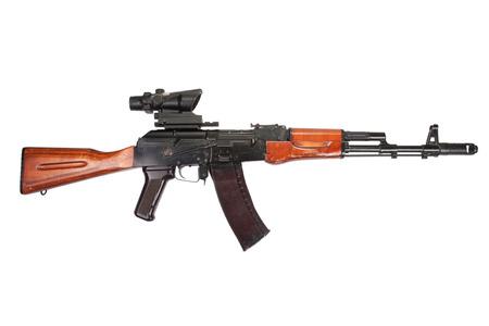 Kalashnikov AK assault rifle with optical sight on white