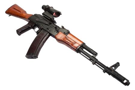ak 74: Kalashnikov AK assault rifle with optical sight on white