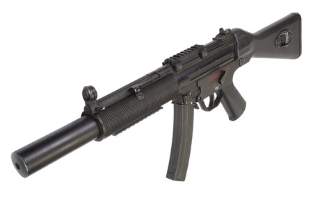 submachine gun MP5 with silencer isolated Stock Photo