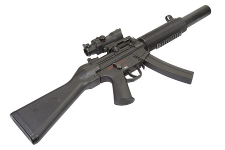 mp: submachine gun MP5 with silencer isolated Stock Photo