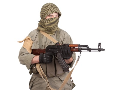 bayonet: mercenary with AK 47 gun Stock Photo
