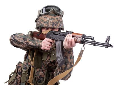 akm: US MARINES with kalashnikov assault rifle Stock Photo