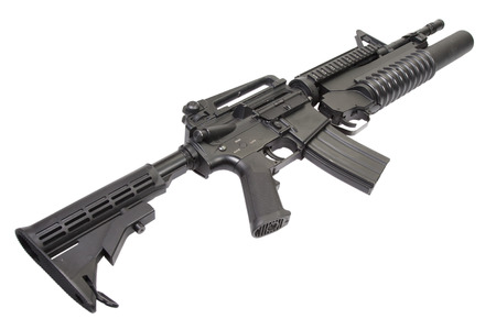 carbine: M4A1 carbine equipped with an M203 grenade launcher Stock Photo
