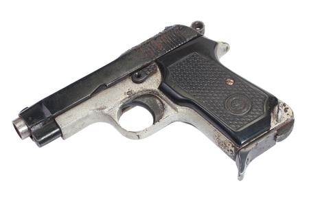 xx century: Old vintage handgun on white Stock Photo