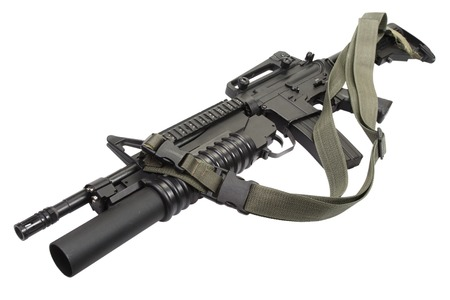 carbine: M4 carbine equipped with an M203 grenade launcher Stock Photo