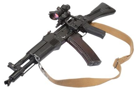 modern kalashnikov rifle on white photo