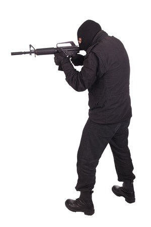 M16: mercenary with m16 rifle Stock Photo
