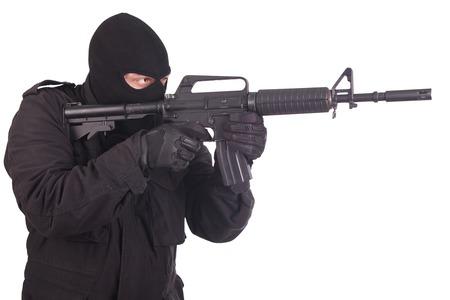 m16: mercenary with m16 rifle Stock Photo