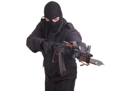 bayonet: mercenary with AK 47 gun witn bayonet Stock Photo