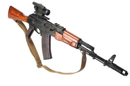 ak 74: rifle with optic sight on white