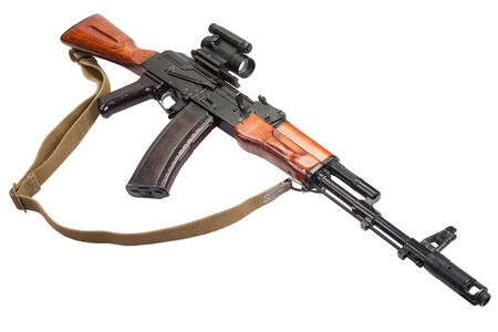 ak 74: rifle with optic sight on white
