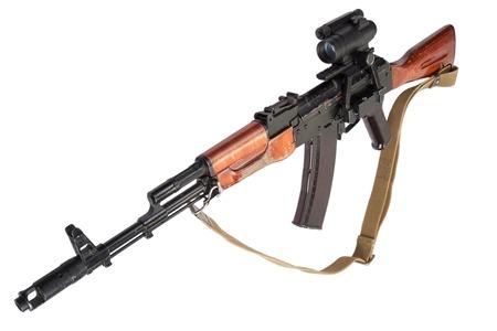 kalashnikov rifle with optic sight on white photo