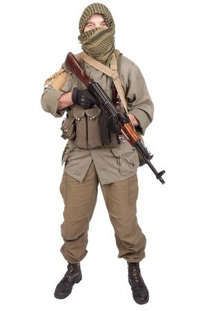 ak 47: mercenary with AK 47 Stock Photo