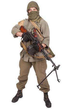 akm: mercenary with machine gun Stock Photo