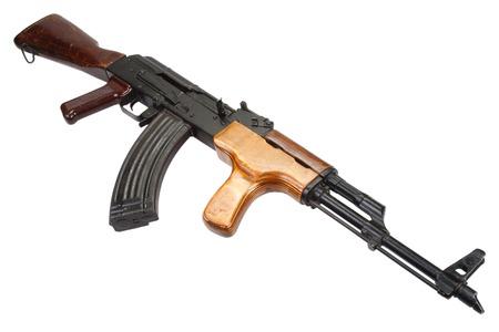 akm: Kalashnikov AK 47 Romanian version isolated on white