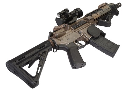 gunsight: M4 special forces rifle isolated on a white background