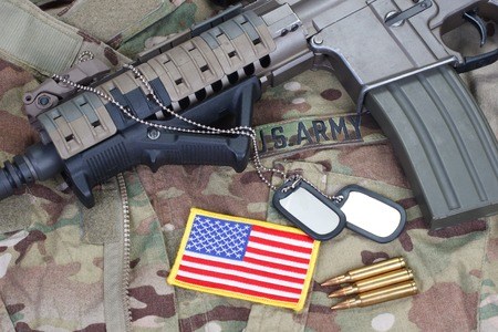 m16 ammo: us army special forces uniform and weapon concept background Stock Photo