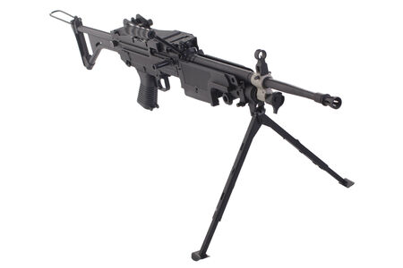 counter terrorism: machine gun m249 isolated on white background