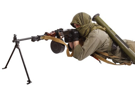 anti war: rebel with machine gun