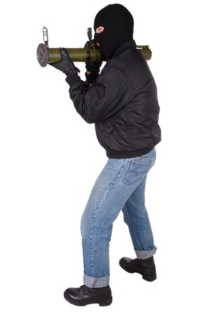 bazooka: terrorist with bazooka grenade launcher isolated on white bacground Stock Photo