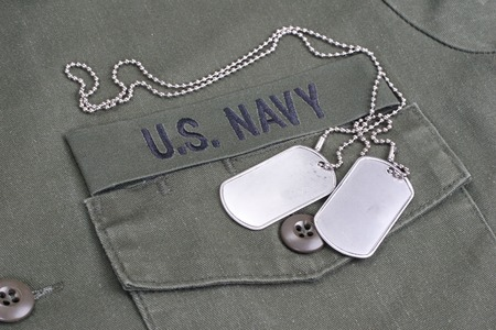 us navy uniform with blank dog tags bacground
