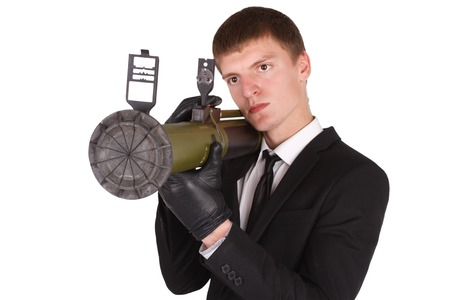 man in black costume and bazooka isolated on white