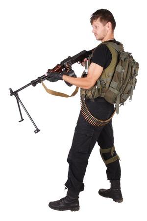 mercenary: mercenary with RPG gun isolated on white